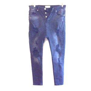 Zara Skinny High Rise (Mom's Jeans) Black sz 32